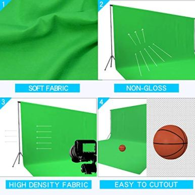 Issuntex-10X12-ft-Green-Background-Muslin-BackdropPhoto-StudioCollapsible-High-Density-Screen-for-Video-Photography-and-Television