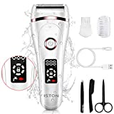 Electric Razor for Women, ISTON Rechargeable Wet and Dry Painless Lady Shaver Body Hair Remover for Face Legs Underarms and Bikini Trimmer Cordless Waterproof Hair Shaver with LED Battery Life Display