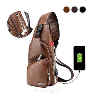 Large Men's Leather Sling Bag Chest Shoulder Backpack Water waterproof Crossbody Bag with USB Charging Port for Travel, Hiking,Cycling (Large Light Brown) 14 Fashion Online Shop 🆓 Gifts for her Gifts for him womens full figure
