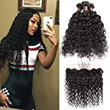 Brazilian Wet Water Bundles with Frontal 100% Virgin Human Hair Bundles with Frontal 8A+ Unprocessed Water Wave Hair Extensions and Frontal Natural Color (18 20 22+16 Frontal)