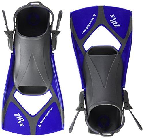 Aqua Sphere Zip VX Fitness Swim Fins, Blue/Grey, Large