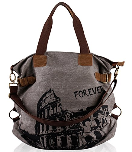 """51IZ11TO4BL Durable and fashionable canvas tote printed with historical amphitheatre design depicting the """"Forever"""" Roman Colosseum Adjustable shoulder strap with hand strap let the bag can be used as handbag and shoulder bag. It means buy one bag get 2 bags 2 top-open pockets, 1 zippered pocket and 1 exterior zippered pocket"""