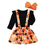 Baby Girl Halloween/Thanksgiving Clothes Ruffle Top Pumpkin/Turkey Suspender Skirt Headband Outfit Set Black