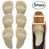 Beautulip Arch Support Cushions Adhesive Metatarsal and Arch Gel Inserts Flat Feet Pain Relief Ball of Foot Pads - Absorb Sweat Comfortable High Heels Inserts Pack of 6