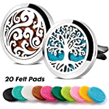 2 Packs 30mm Essential Oil Car Diffuser Vent Clip Locket 316L Stainless Steel Diffuser Locket Tree & Cloud with 20 Refill Pads