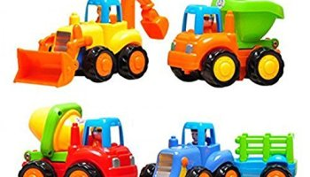 CifToys Friction Powered Cars Push And Go Toys Car Construction Vehicles Set Of 4 Tractor