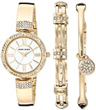 Anne Klein Women's AK/3294GBST Swarovski Crystal Accented Gold-Tone Bangle Watch and Bracelet Set