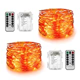YIHONG 2 Sets Orange Fairy Lights -16.4ft Battery Operated String Lights - 50Leds Twinkle Firefly Lights with Remote Control for Christmas Bedroom Patio Garden Part Indoor Decoration