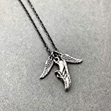 I Run With Wings On The Soles Of My Shoes Necklace on 18 inch Gunmetal Chain - Pewter Wings and Pewter Running Shoe Charm