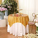"""Eternal Beauty Gold Square Sequin Tablecloth Sequin Overlay Tablecloth for Wedding Christmas Party 48""""x48"""""""