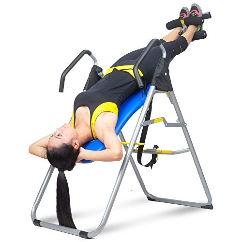 HYD-Parts Inversion Table,Back Therapy Fitness Back Pain Relief, Adjustable Folding Therapy Back Inversion Table for Home Exercise (Blue&Black)