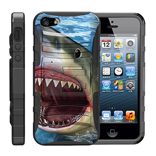 TurtleArmor | Compatible for Apple iPhone SE Case | iPhone 5/5s Case [Hyper Shock] Hybrid Rugged Kickstand Clip Holster Hard Impact Silicone Sea Ocean Beach Design - Shark Attack