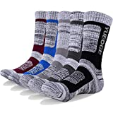 YUEDGE Mens 5Pack Cotton Moisture Wicking Extra Heavy Cushion Crew Athletic Sports Hiking Socks