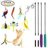Cat Feather Toy Cat Toy Wand Interactive Teaser Catnip Toys Set Mouse Bird Butterfly Dragonfly Worm Catcher for Cats Kitten,9 Refills