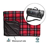 Luxury Picnic Blanket for Outdoor Family Adventures, Camping, Hiking, Beach Fun - Checkered Plaid Fleece & Waterproof Backing - Large Folding Blankets, Portable Handle & Shoulder Strap (red)