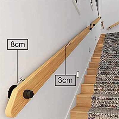 Amazon Com Yyhh Solid Wood Stair Handrail Kit Wall Mounted Stair | Wall Mounted Stair Railing | Rustic Wooden Handrail | Wall Mount Window | 90 Degree Stair | Drawing Wall | Wall Fixed Metal