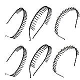 6 Assorted Metal Wire Teeth Black Comb Headband