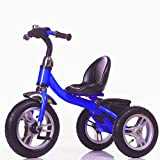 Little Bambino RideOn Pedal Tricycle Children Kids Smart Design 3 Wheeler | CE Approved Air Wheels Adjustable Seat Metal Frame Bell (Blue)