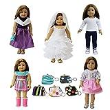 ZITA ELEMENT 6 PCS Doll Clothes and Accessories Set | 5 Clothes Mix Dress & 1 Handbag for American 18 Inch Girl Dolls