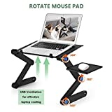 Kapoo Laptop Desk-Portable Laptop Stand Adjustable Ergonomic Laptop Table with 2 CPU Cooling Fans and Aluminum Mouse Pad,360 Degree Adjustable Legs