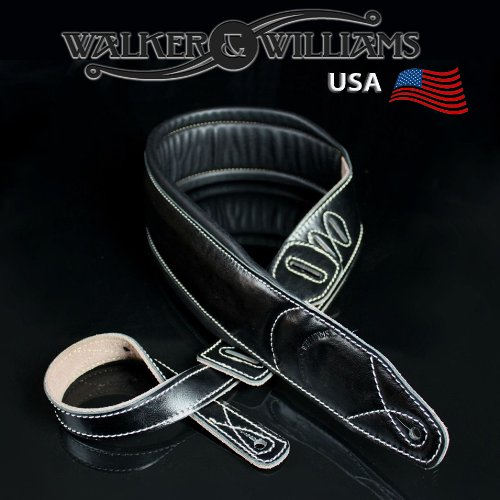 Walker & Williams C-22 Premium Black Leather Extra Wide Double Padded Guitar Strap