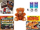 Children's Gift Bundle - Ages 6-12 [5 Piece] - Race Cards Stock Car Racing Card Game - Merkury HUE Universal Dancing-LED Speakers - Fuzzy Friends Teddy Bears Plush Soft 10' - Amazing Sports Bloopers