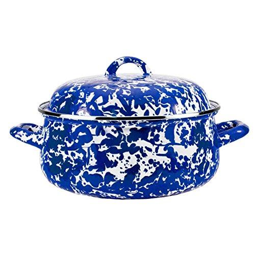 Enamelware-Colbalt-Blue-Swirl-Pattern-4-Quart-Dutch-Oven