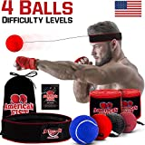 Boxing Reflex Ball Set, 4 Difficulty Level Training Balls On String, Punching Fight React Head Ball with Headband, Speed Hand Eye Reaction & Coordination Boxing Equipment, Exercise
