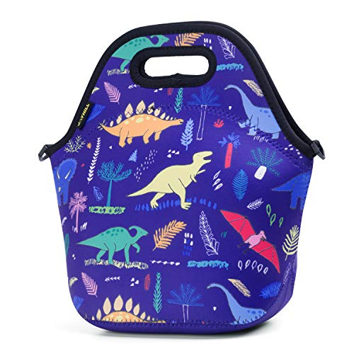 Neoprene Lunch Bag, Navy Dinosaur lunch bags for Women Kids Girls Men Teen Boys, Insulated Waterproof Lunch Tote Box for Work School Travel and Picnic