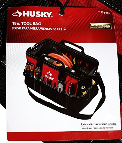 Husky 82003N11 18' Water-Resistant Contractor/DIY Tool Bag with Shoulder...