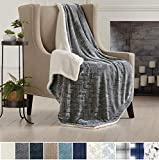 Home Fashion Designs Premium Reversible Two-in-One Sherpa and Sculpted Velvet Plush Luxury Blanket. Fuzzy, Cozy, All-Season Berber Fleece Throw Blanket Brand. (Pewter)