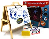 Matty's Toy Stop 2-in-1 Mini Wooden Tabletop Easel with Blackboard, Paper Clip & Accessories