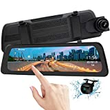 Mirror Dash Cam Backup Camera 9.88' Full HD Touch Screen Car Dash Camera Stream Media Dual Lens 170° 1080P Front and 150°1080P Rear View Camera with G-Sensor PORMIDO,24 Hour Parking,GPS