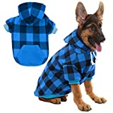 KOOLTAIL Plaid Dog Hoodie for Large Dogs Pet Clothes, Blue XL