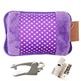 WITERY Hand Warmer Portable Rechargeable Electric Heat/Hot Water Bag with Soft Velvet Cover - Ideal for Warm Your Hands/Pain Relief/Muscle Relaxation & Comfort Use and As Pillow Purple