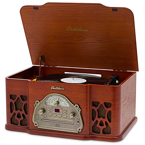 Electrohome Winston Vinyl Record Player 3-in-1 Classic Turntable Natural Wood Stereo System