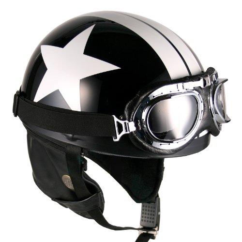 Goggles Vintage German Style Half Helmet (Black White-star Large) Motorcycle Biker Cruiser Scooter Touring Helmet