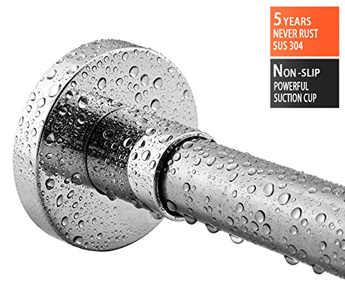 BRIOFOX Shower Rod 44-78 Inches Adjustable Curtain Rod 304 Stainless Steel Super Powerful Vacuum Suction Cup Use for Bathroom Kitchen Home Bath