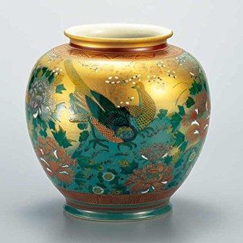 """Japanese drawn Ceramic Porcelain kutani ware. Japanese Ikebana flower vase. Gold bird."""" Japanese ceramic Hagiyakiya 1057"""