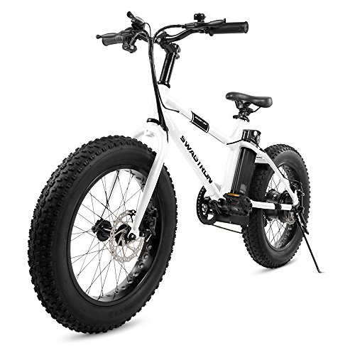 "Swagtron EB-6 Youth Fat E-Bike 350W Motor, Power Assist, 4"" Tires, 20"" Wheels, Removable 36V Lithium Ion Battery, Dual Disc Brakes-Electric Bike 7-Speed Shimano SIS Shifting Built for Trail Riding"