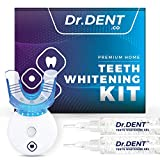 DrDent Premium Teeth Whitening Kit 35% CP | LED Light | (2) 5ml Whiten Gels | Removes Stains - Includes Mouth Tray & Shade Guide - Rapid & Effective Results - User-Friendly & Safe