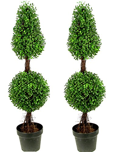 Admired By Nature 3' Artificial Boxwood Leave Double Ball Shaped Topiary Plant Tree in Plastic Pot, Green/Two-tone- Set of 2