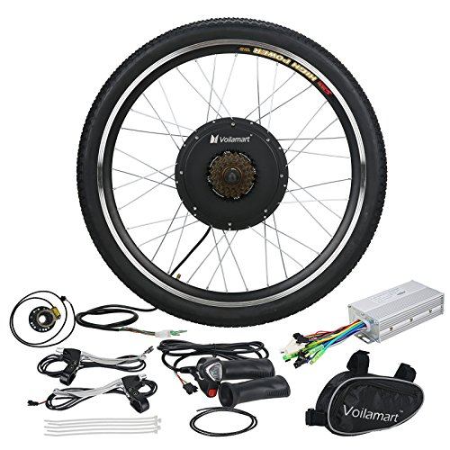 "Voilamart 26"" Rear Wheel E-bike Hub 48V 1000W Electric Bicycle Conversion Kit Cycling Brushless Hub Motor w/ Intelligent Dual Mode Controller Restricted to 750W Secret Wire for Road Bike"