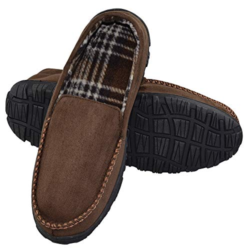 LA PLAGE Men's Advanced Anti-Slip Indoor/Outdoor Moccasin Slippers with Hardsole Size 9 US Brown