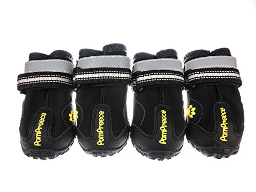 Xanday Dog Boots Waterproof Dog Shoes Paw Protectors with Reflective Straps and Wear-resisting Soles 4Pcs(Black05)