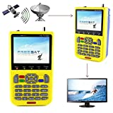 Satellite Finder, V8 Finder, Free Sat FTA, 1080P full HD DVB-S/S2 Digital Satellite Signal Meter, free to Air Sat Finder with 3.5 inch LCD Screen Supports Adjusting Sat Dish and Surveillance Camera