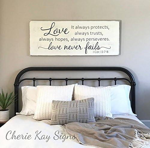 Wood Sign Plaque Master Bedroom Wall Decor Love Never Fails 1 Corinthians 13 Wood Sign Rustic Bedroom Decor Farmhouse Bedroom 24 X 9 2 Amazon Ca Home Kitchen