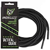 IRONLACE Paracord 550 shoe laces for sneakers, running, hikers and boots, Midnight Black, 63' round shoelaces