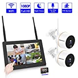 【PLUG&PLAY】4CH Wireless Security Camera System,SMONET 7' Touchscreen NVR Monitor(32G TF Card Included) With 2PCS 1080P WiFi Outdoor Security Camera,Two-Way Audio,PIR Motion Detection,Easy Remote View