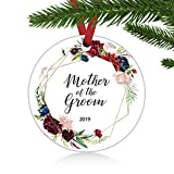 ZUNON Mother of The Groom Ornament Mother of The Groom Gift Gift from Bride Wedding Keepsake Mother in Law Wedding Christmas Wedding Decoration 3' Ornament (Mother of The Groom)
